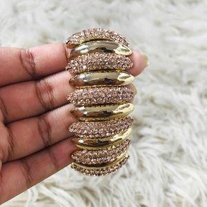 Rose Gold & Gold Stretch Cuffed Bracelet